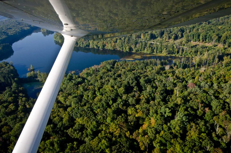 Flying over a section of the Kensico Reservoir where the headwaters of the Bronx flows into Pleasantville Cove.