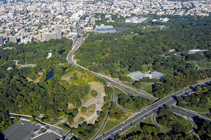 Flying over the Bronx River Parkway and a section of the Bronx River that flows through the grounds of the Bronx Zoo.