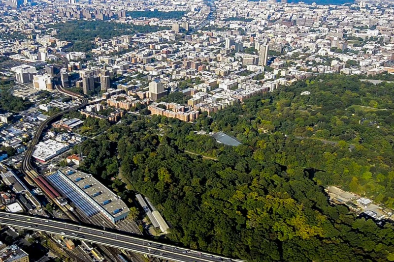Looking down on the southern edge of the Bronx River Forest and the Unionport Train Yard where the Bronx River flows into the South Bronx.