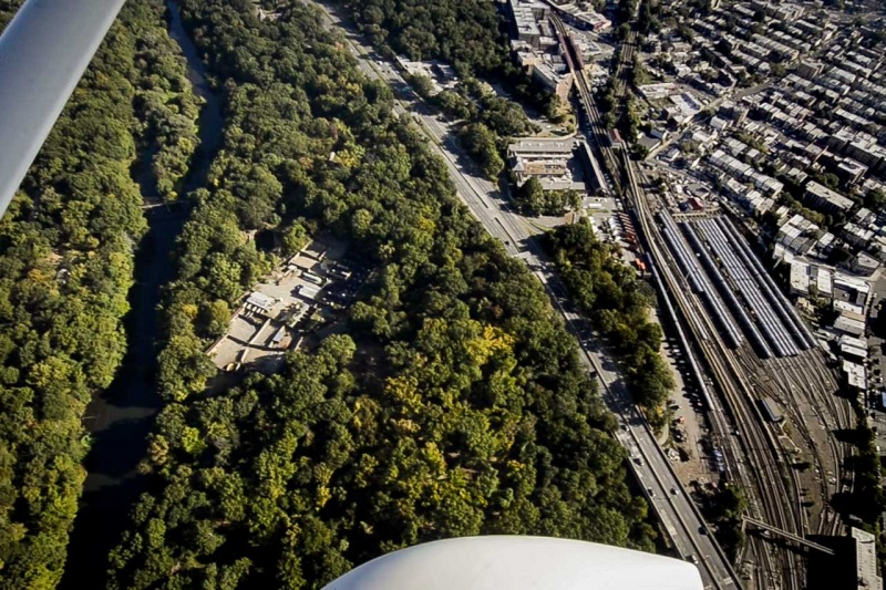 Flying over the Bronx River and Unionport Train Yard in the South Bronx.