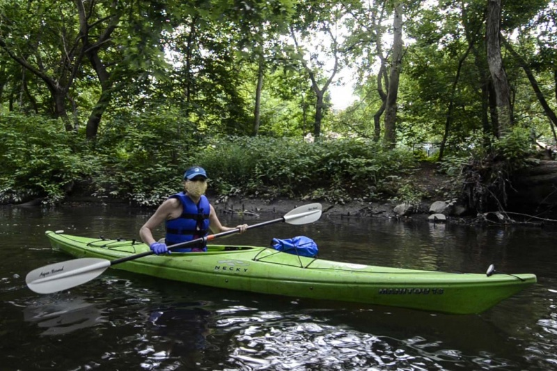 Director of Environmental Stewardship for the Bronx River Alliance kayaking through Shoelace Park explains the importance of restoring the Bronx River for communities and wildlife.