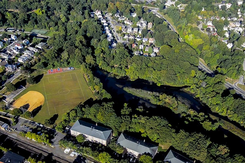 The Bronx River flows through the Parkway Oval in Tuckahoe, New York.