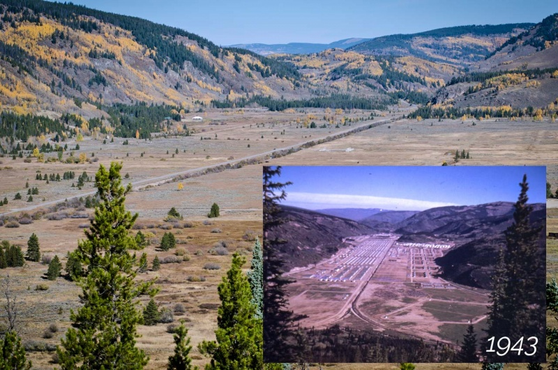Historic photograph inlay shows Camp Hale in 1943 looking north up the channelized section of the Eagle River and contemporary photograph of the same view after the military facilities were removed and only the straightened river remains.