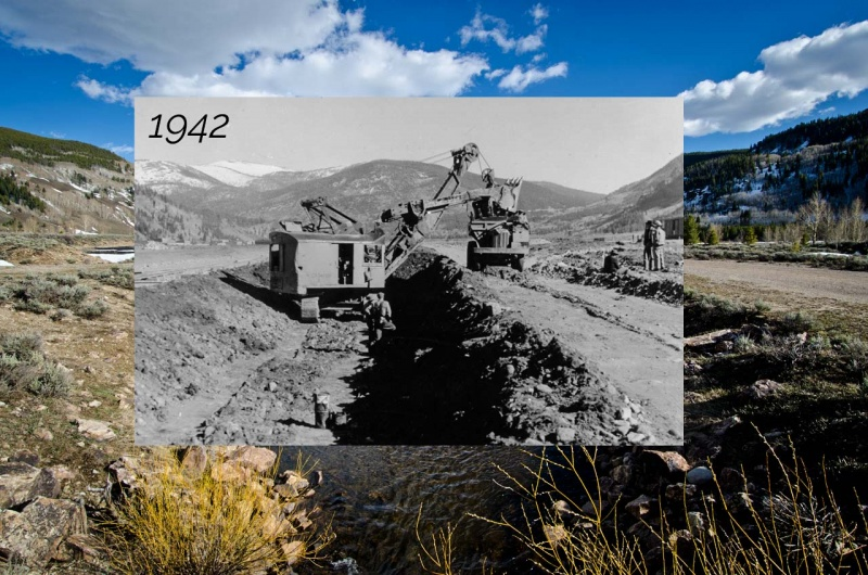 Historic photograph inlaid over my contemporary photograph of the straightening of the Eagle River at Camp Hale. During construction, the oxbows of the river were removed through channelization and the surrounding wetlands were drained.