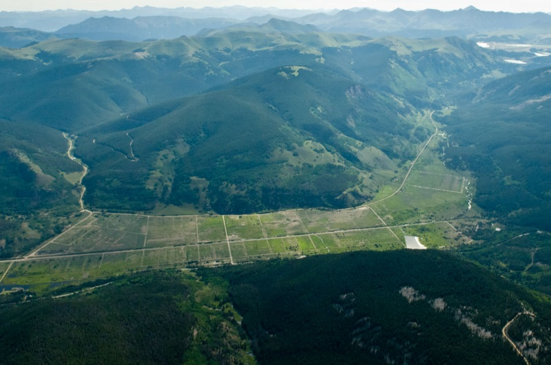Aerial view of Camp Hale and the Pando Valley with the channelized Eagle River running down the middle of the valley floor.