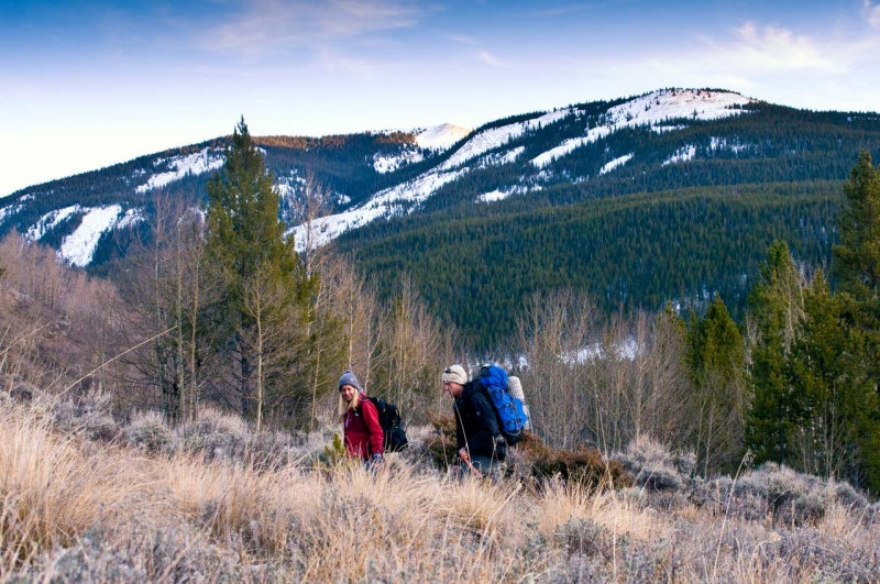 Backpackers on a section of the 486 mile long Colorado Trail that goes through Camp Hale.