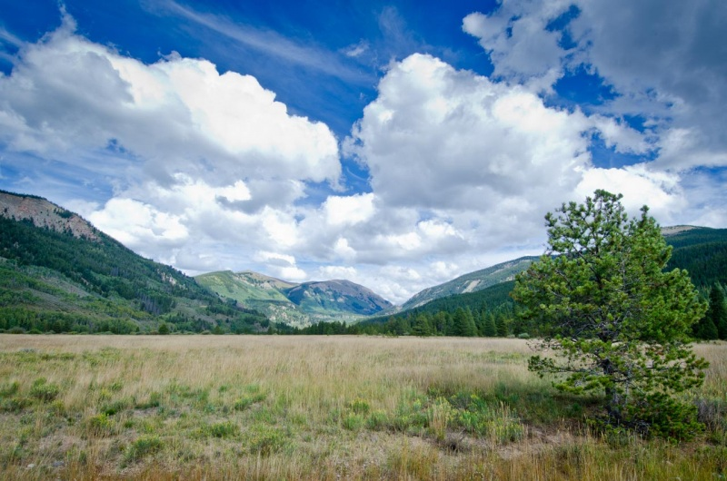 Views toward Kokomo Pass and Sheep Mountain in Colorado Pando Valley, site of the former high elevation military training facility Camp Hale.