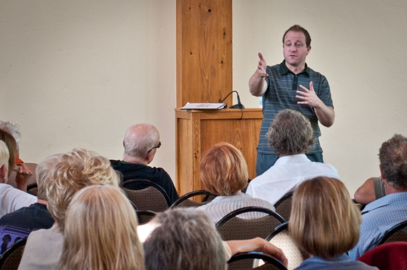 During a town hall meeting, Colorado governor Jared Polis talks with community members about the benefits of Wilderness Designation and expansion in the CORE Act.