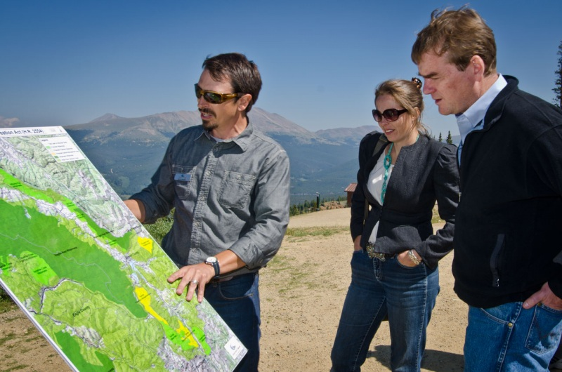 Wilderness and Public Lands Advocate for Conservation Colorado Scott Braden shows Colorado Senator Michael Bennet and Colorado State Senator Kerry Donovan proposed Wilderness Areas included in the Colorado Outdoor Recreation and Economy Act.