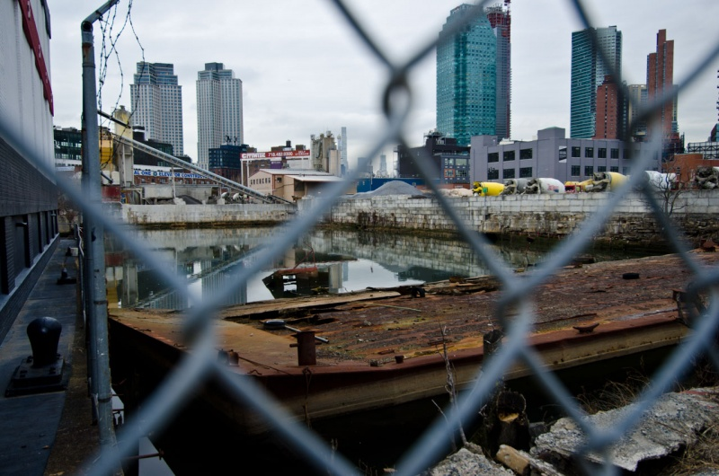 The headwaters of the highly modified Dutch Kills river in Long Island City that resembles a hammerhead.