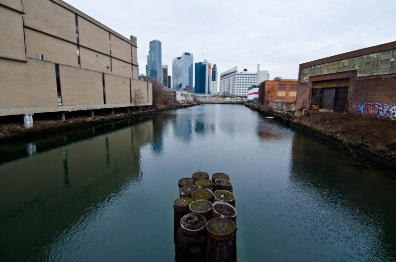 Looking north towards the headwaters of Dutch Kills in Long Island City.