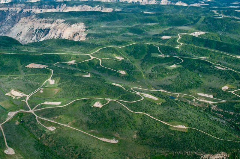 A spider web network of roads cut into the forest to service fracking operations on the Roan Plateau in Western Colorado.