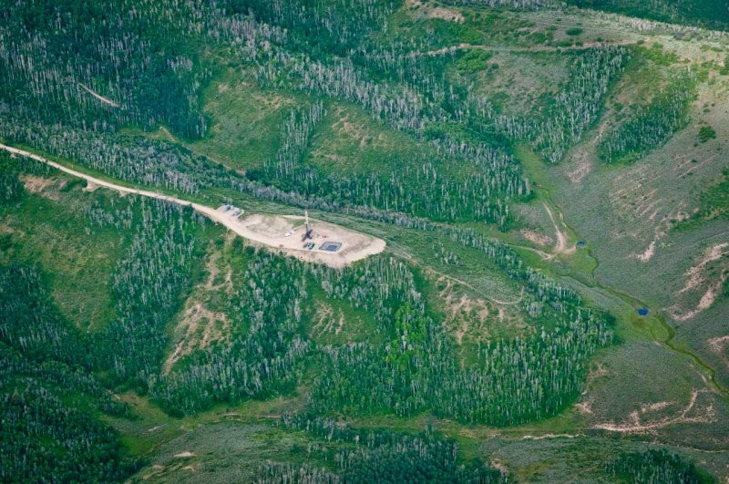 A fracking well on a ridge that drains into several small creeks deep in the forests on the Western Slope in Colorado.