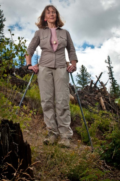 Author, historian and environmental activist Mary Ellen Gilliland in a lodgepole pine clear cut on the Colorado Trail.