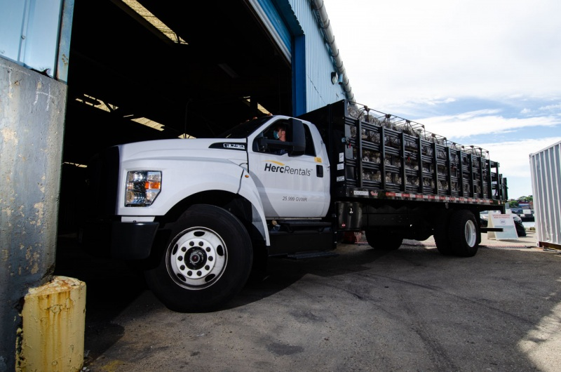A truckload of oyster gabions arrive at Red Hook Terminal in Brooklyn to be loaded into shipping containers bound for oyster reef restoration in the East River in New York City.