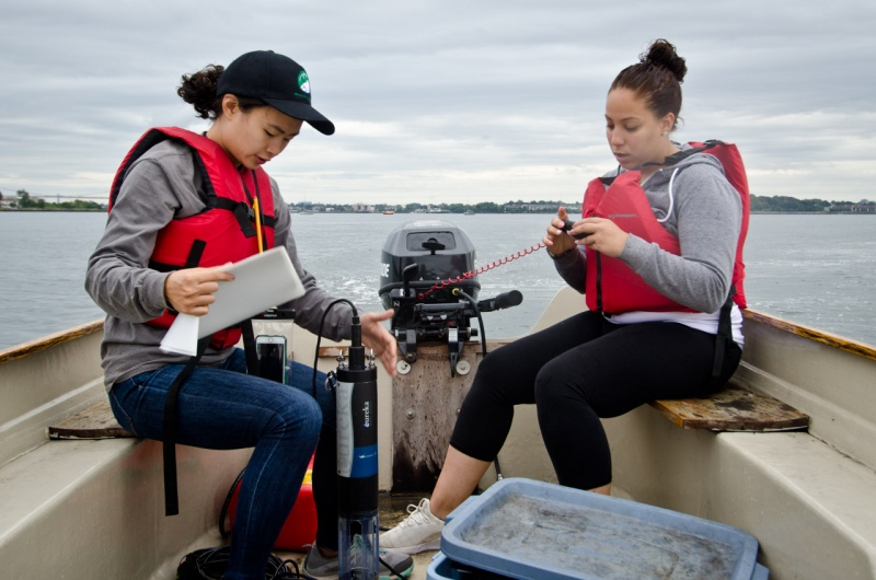 A comprehensive report from Save the Sound on the water quality of Long Island Sound relies on data collected by groups like the Bronx River Alliance shown here using GPS to locate monitoring sites on the East River near the confluence of the Bronx River in New York City.