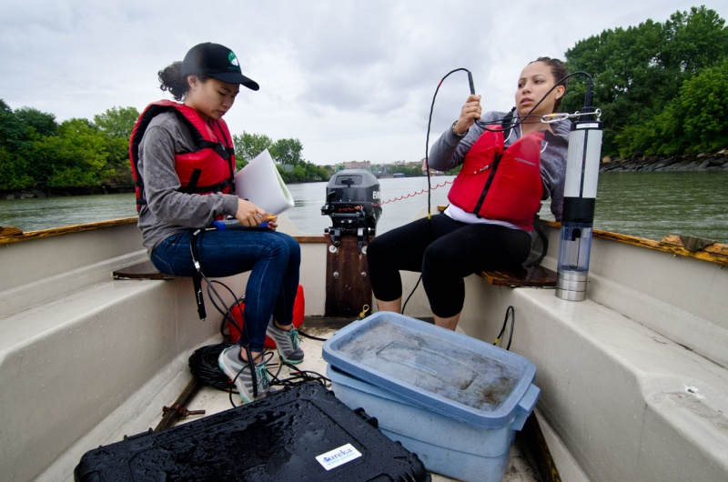 Specialized equipment is used to measure water quality data at specific locations on the Bronx River a report from Save the Sound on the water quality of Long Island Sound.