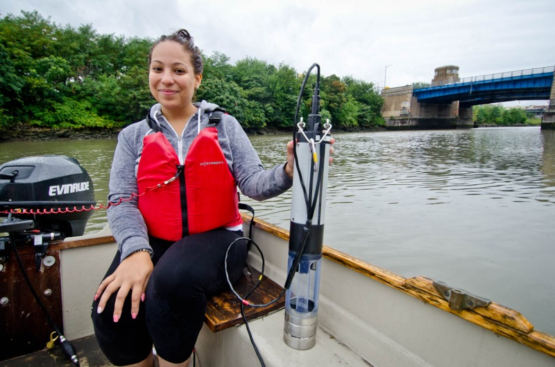 Specialized equipment is needed to measure water quality for a report from Save the Sound on the water quality of Long Island Sound at specific locations along the Bronx River like this one next to the Bruckner Expressway overpass in the South Bronx.