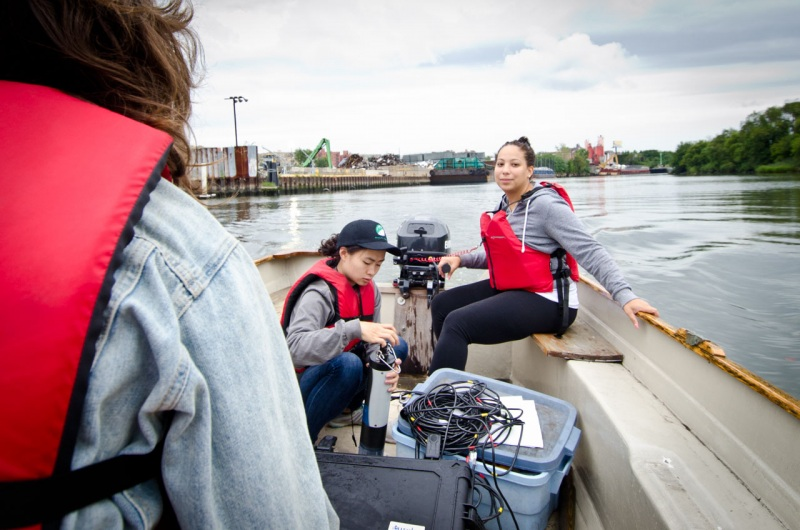 A small crew heads south along the Bronx River to measure and record water quality data for a report from Save the Sound on the water quality of Long Island Sound.