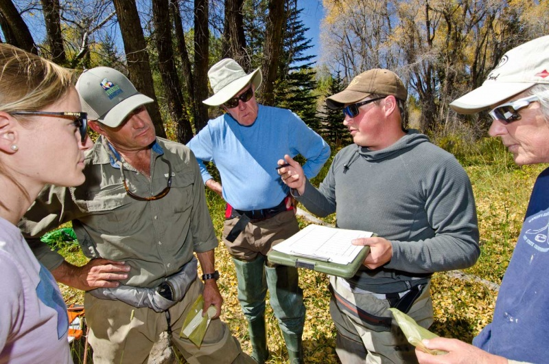 USFS training session for a small group of Eagle County community members who will help identify viability of native trout habitat in Colorado.