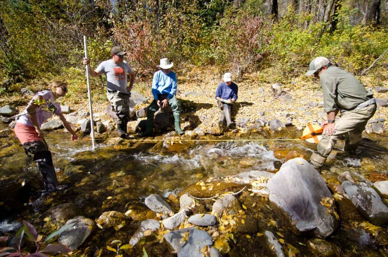 During a citizen scientist training session, local community members are shown how to measure stream pools on Two Elk Creek.