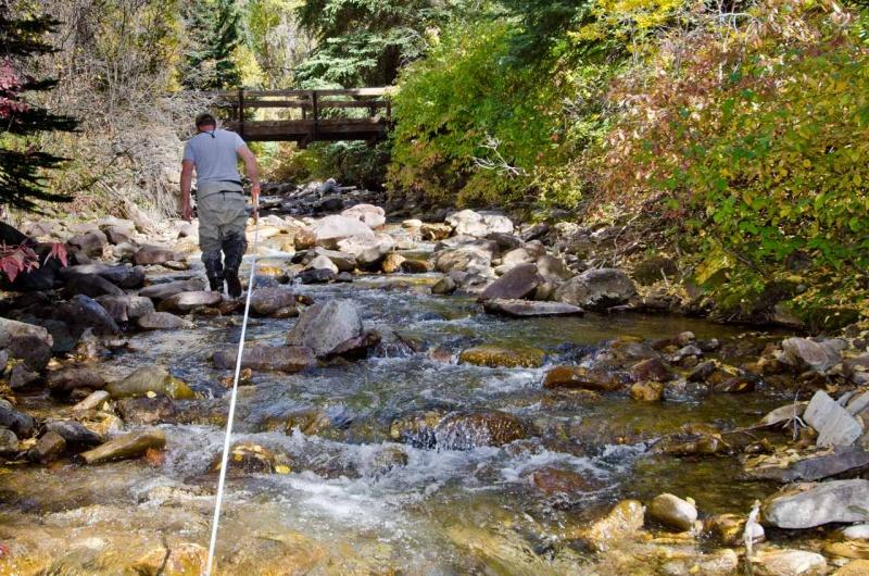 Taking measurements along a reach of Two Elk Creek.