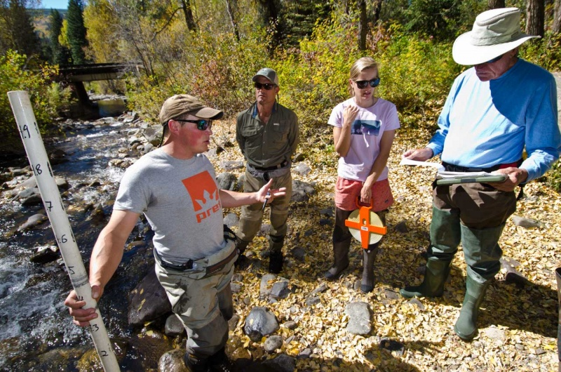 Discussing the details of measuring stream pools in a citizen scientist training program for Eagle County community members.