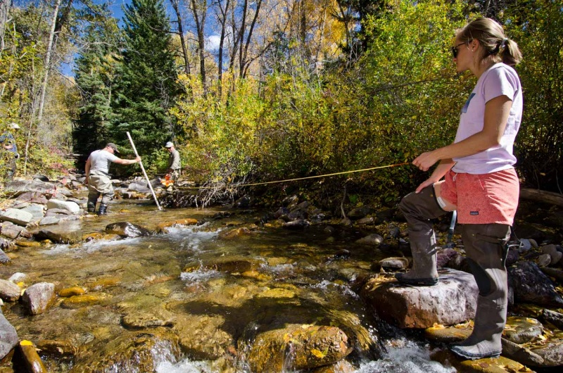 A lesson on the best way to measure the reach of a stream along Two Elk Creek in Northern Colorado.