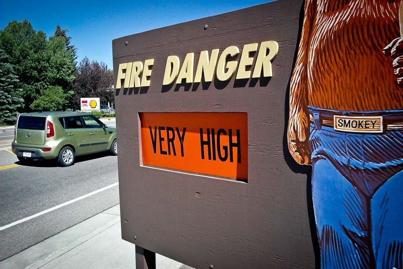 US Forest Service fire danger sign warns conditions for wild fire are very high.