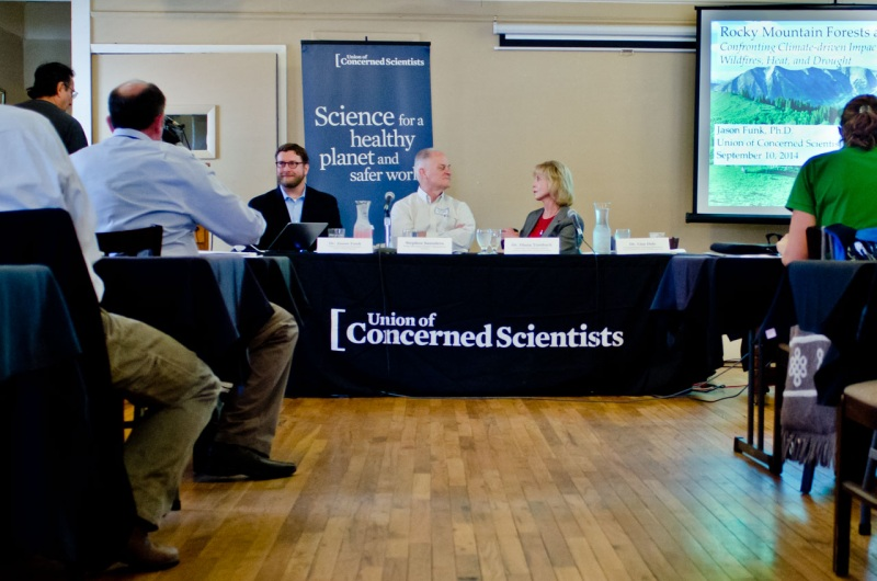 Members of the Union of Concerned Scientists and Conservation Colorado during a presentation of the UCS Western Forest Health Report in Denver, Colorado.