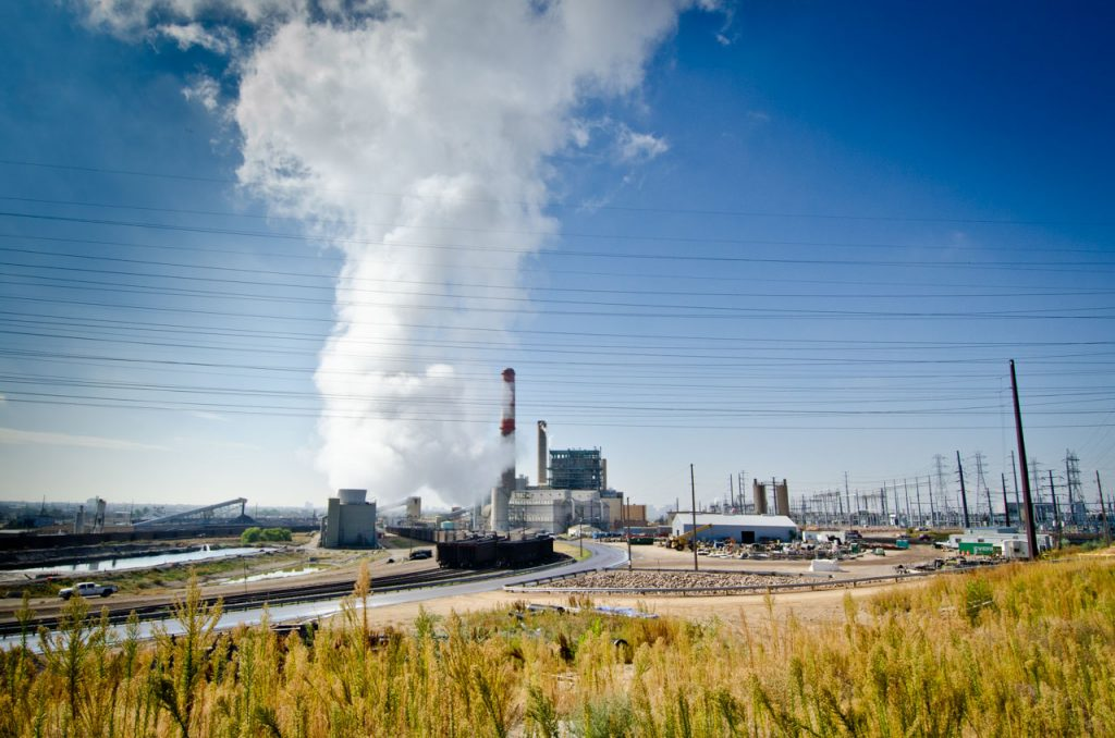 Steam rising from Cherokee Generating Station in Denver