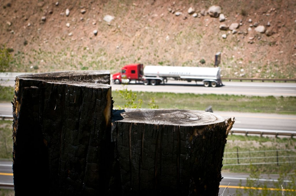 Lodgepole Pine Stump and a Gas Truck