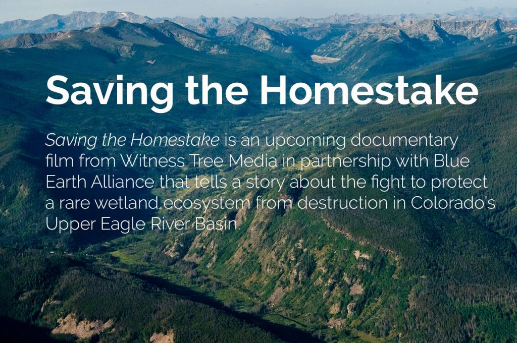 Saving the Homestake is an upcoming documentary film from Witness Tree Media in partnership with Blue Earth Alliance that tells a story about the fight to protect a rare wetland ecosystem from destruction in Colorado's Upper Eagle River Basin.